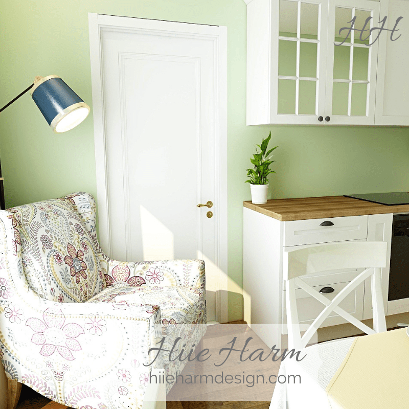 Small green kitchen by kitchen designer Hiie Harm